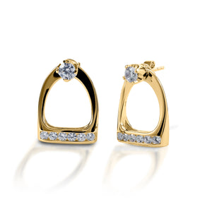 Kelly Herd Stud Earrings with Large English Stirrup Jackets - 14k Gold
