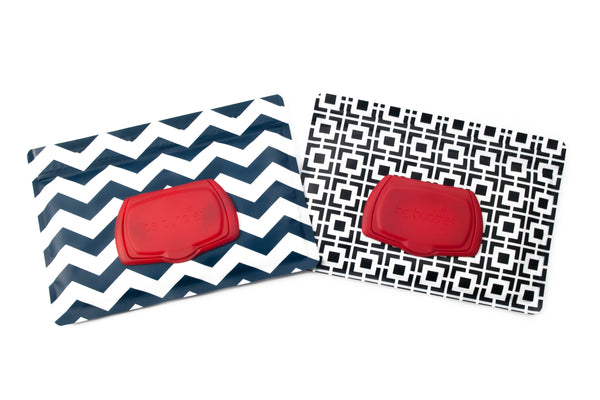 wet wipes dispenser holder case navy chevron and black geometric