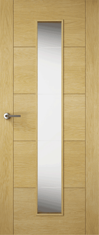 Solid Milano Oak Fire Door Glazed