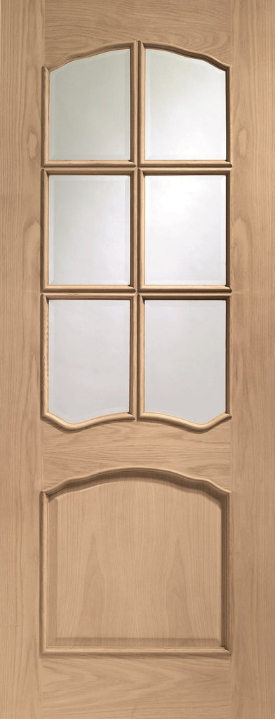 Internal Oak Riviera with Bevelled Glass and Raised Mouldings