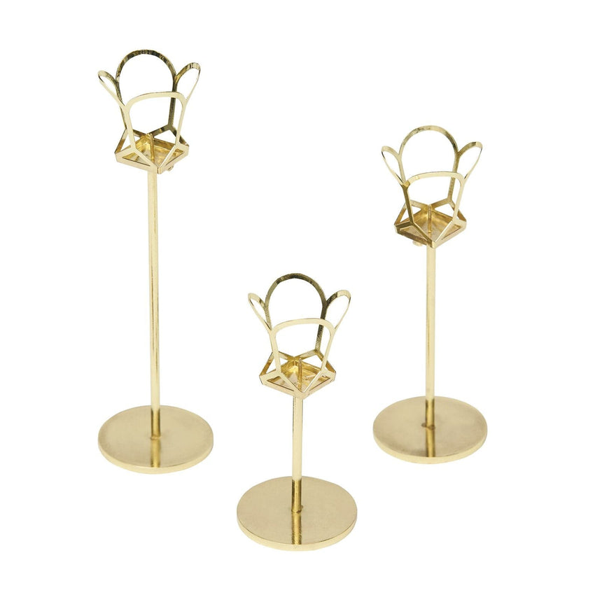 34988 3 Piece Gold Taper Candle Holder Set