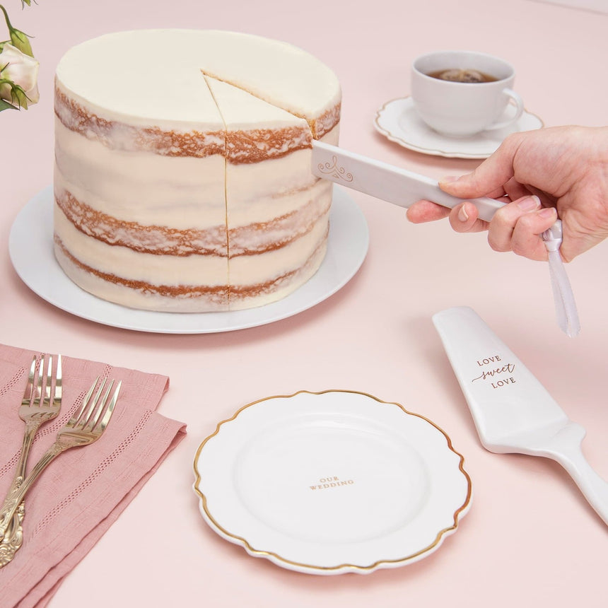 34995 White and Gold Cake Serving Set