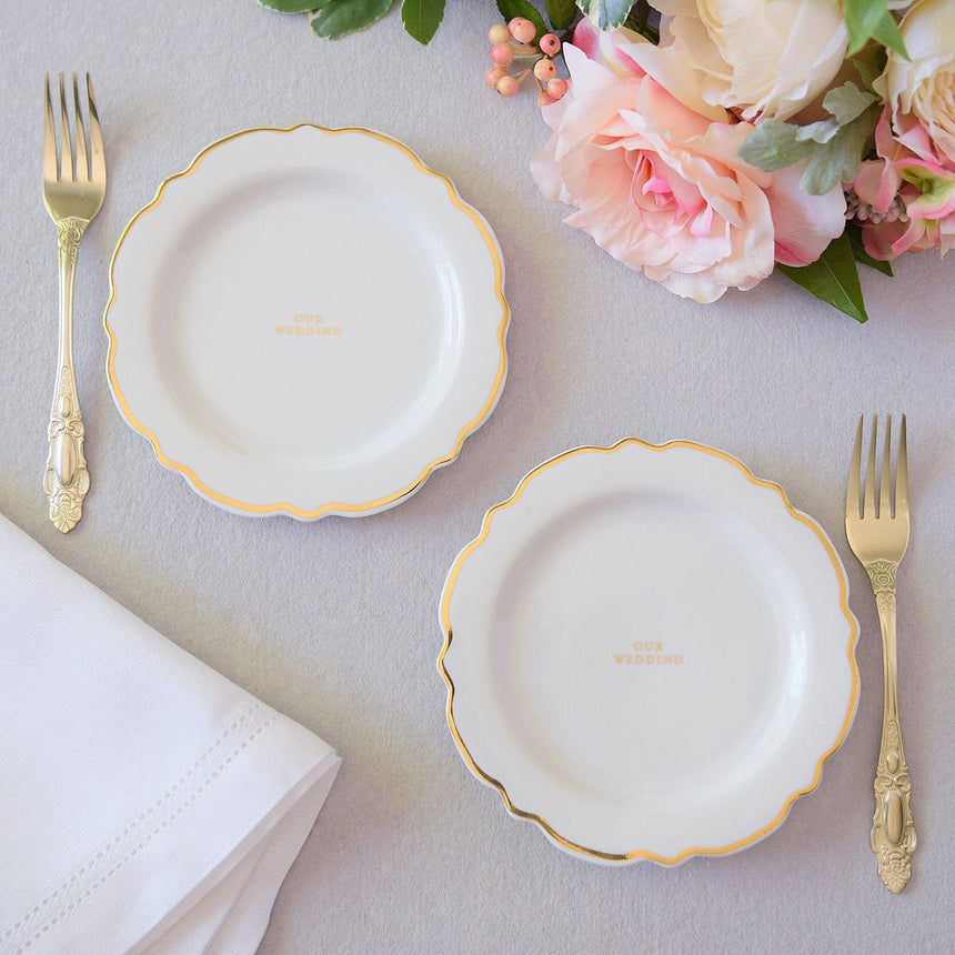 35940 Cake Plates and Fork Set - 4 Count