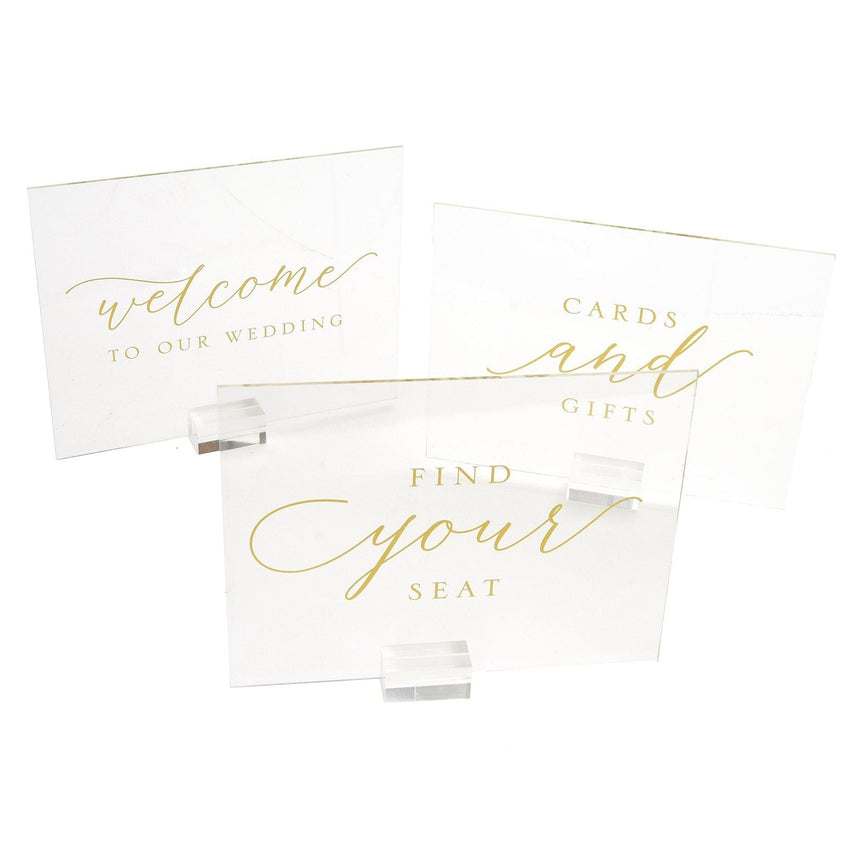36159 Clear and Gold Foil Sign Set - 3 Count