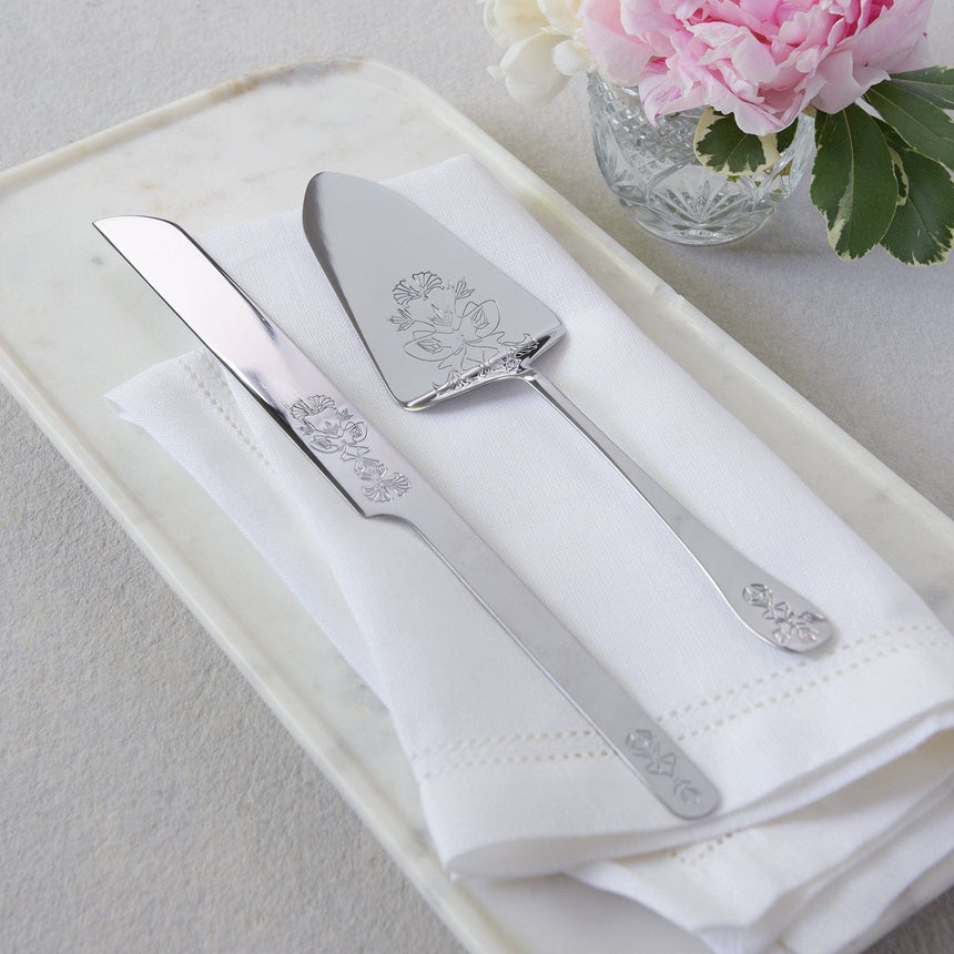 34994 Silver Ornate Cake Serving Set