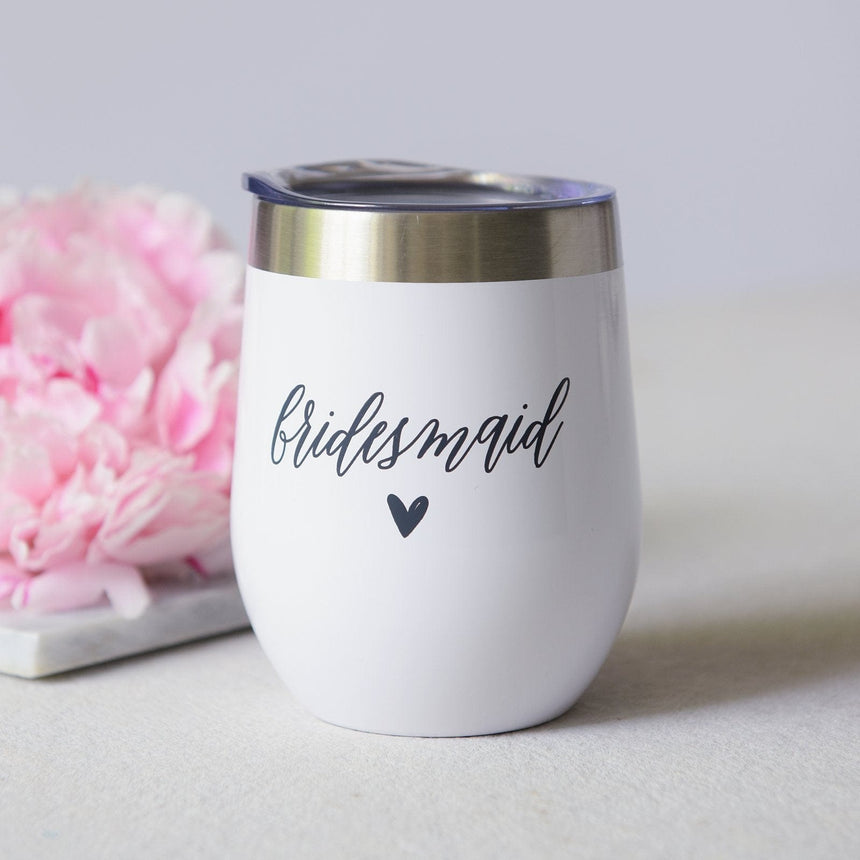 41833 White Bridesmaid Stainless Steel Travel Cup