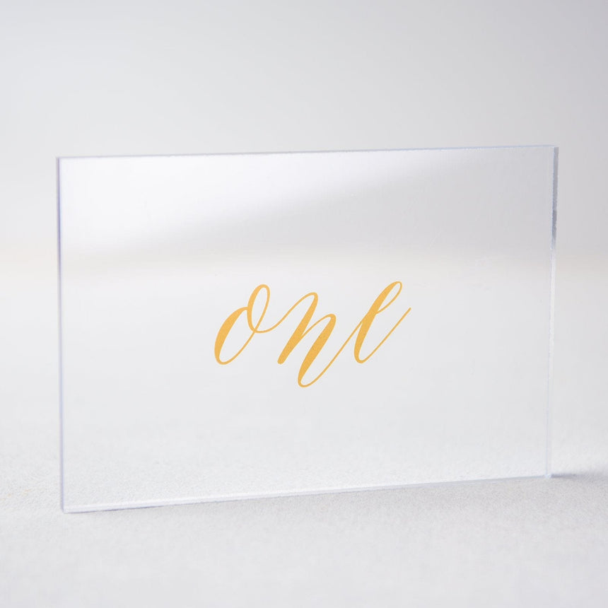 Gold Acrylic Wedding Table Number 1