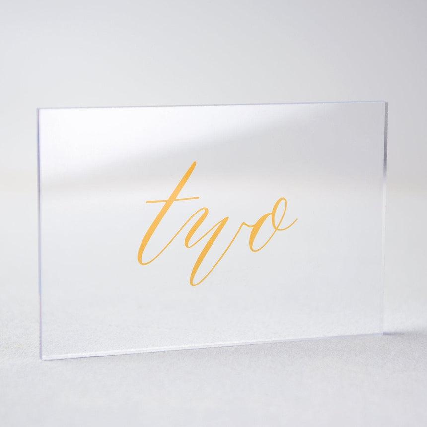 Gold Acrylic Wedding Table Number 2