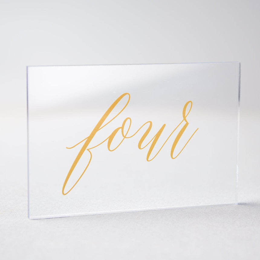 Gold Acrylic Wedding Table Number 4