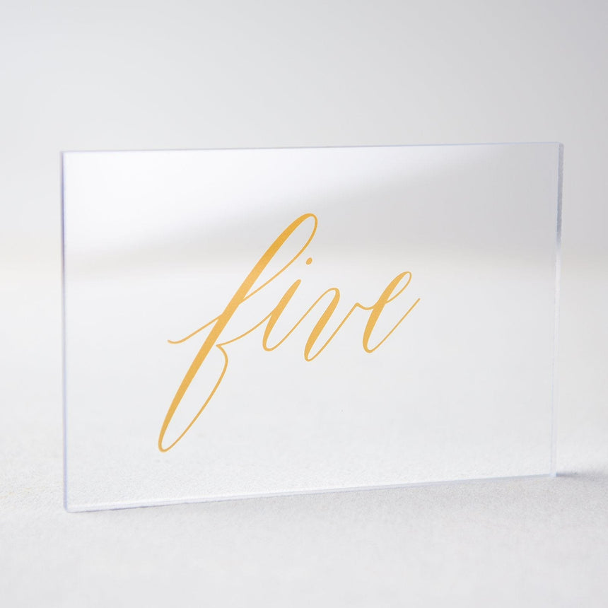 Gold Acrylic Wedding Table Number 5