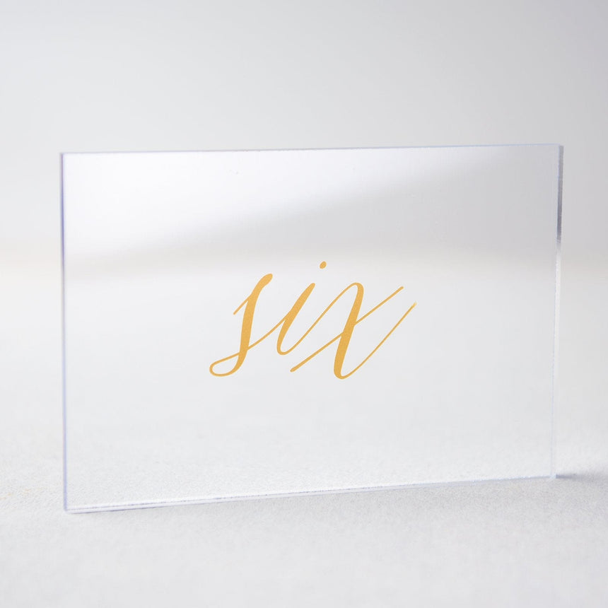 Gold Acrylic Wedding Table Number 6