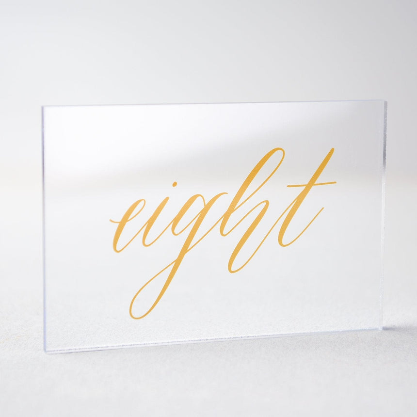 Gold Acrylic Wedding Table Number 8