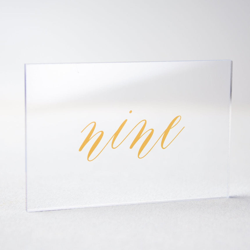 Gold Acrylic Wedding Table Number 9