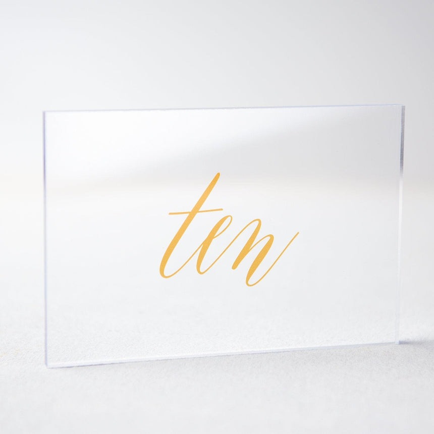 Gold Acrylic Wedding Table Number 10