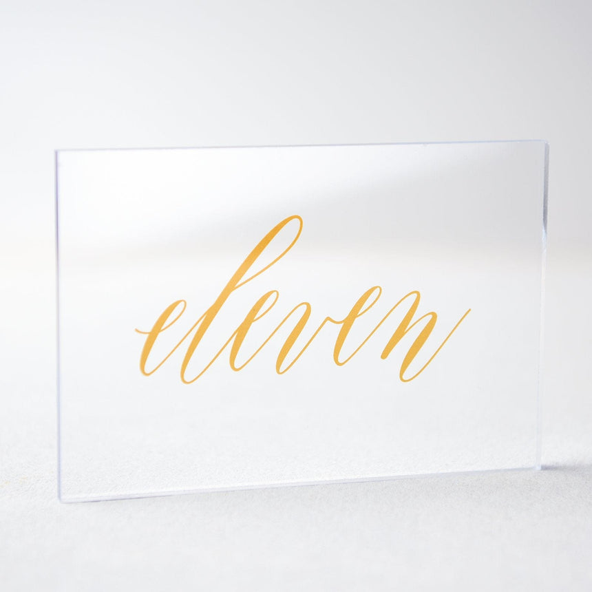 Gold Acrylic Wedding Table Number 11