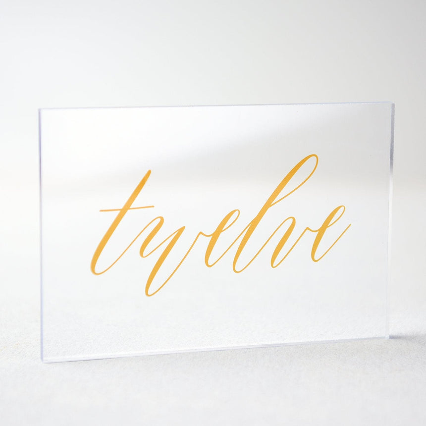 Gold Acrylic Wedding Table Number 12