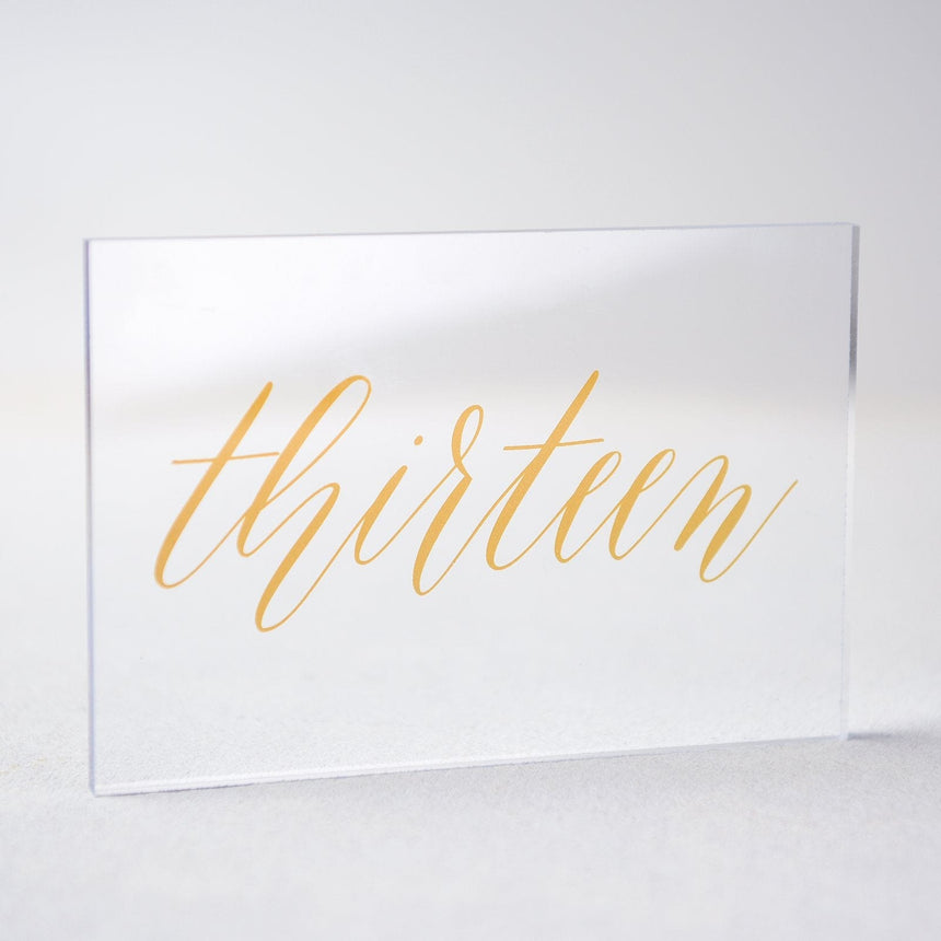 Gold Acrylic Wedding Table Number 13