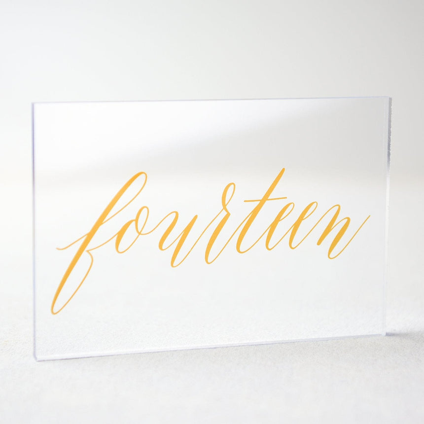 Gold Acrylic Wedding Table Number 14