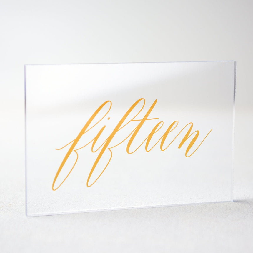 Gold Acrylic Wedding Table Number 15