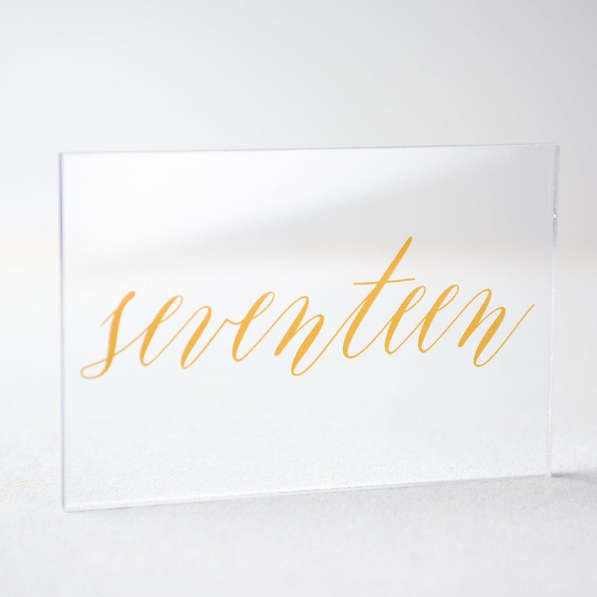 Gold Acrylic Wedding Table Number 17