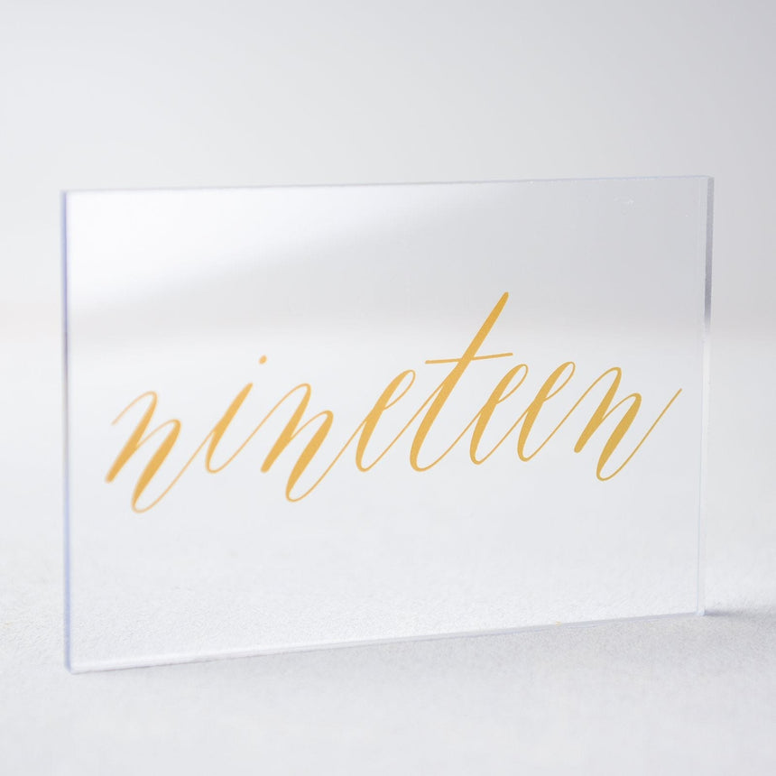 Gold Acrylic Wedding Table Number 19