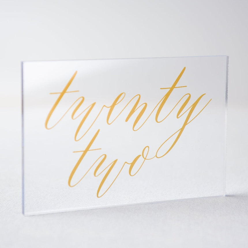 Gold Acrylic Wedding Table Number 22
