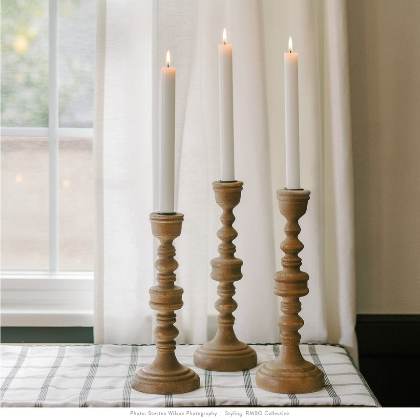 3 Piece Taper Wood Candlestick Set Style Me Pretty