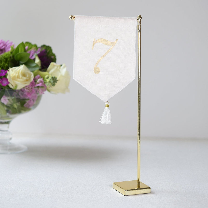 Linen Tassel Wedding Table Number 7