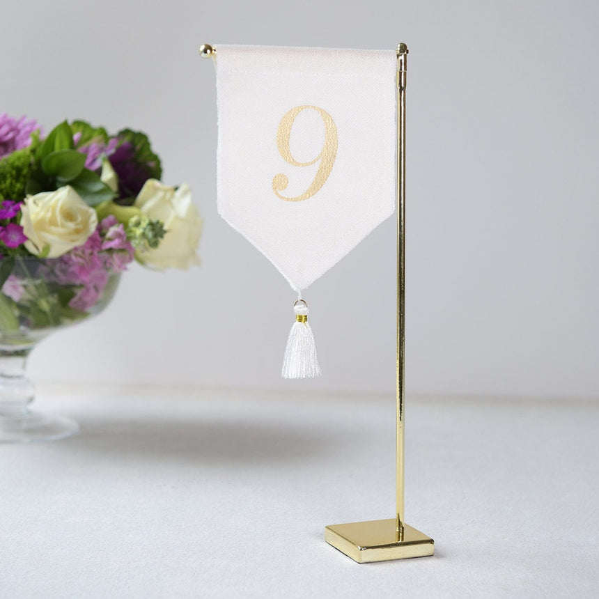 Linen Tassel Wedding Table Number 9