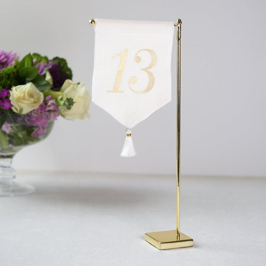 Linen Tassel Wedding Table Number 13
