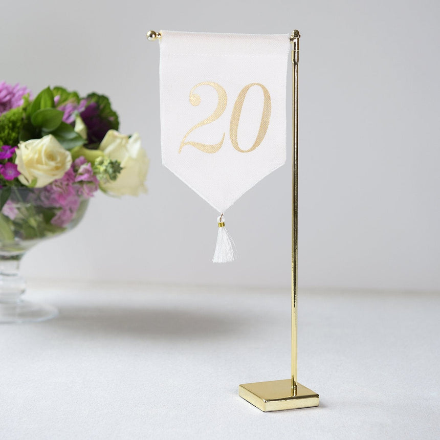 Linen Tassel Wedding Table Number 20