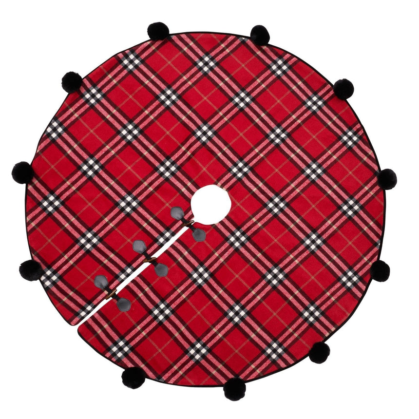 45405 Traditional Red Plaid Tree Skirt