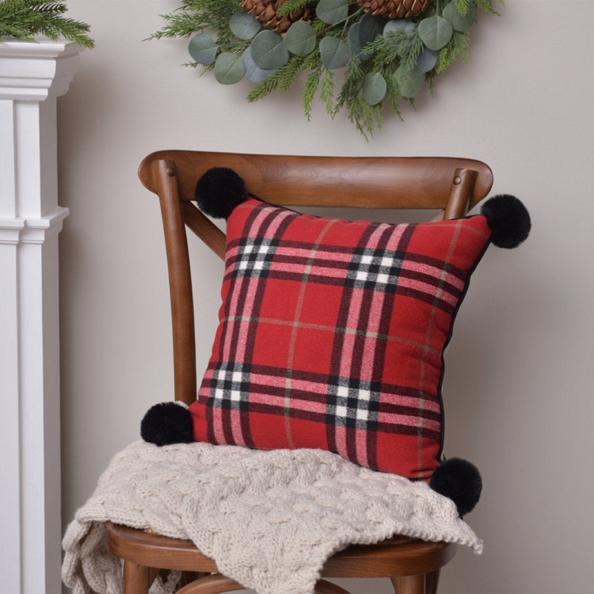 45406 Traditional Plaid with Poms Throw Pillow