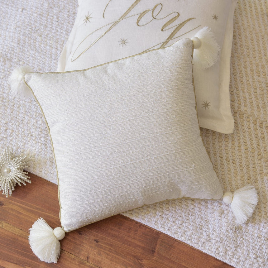 45544 Cream and Gold with Tassels Throw Pillow