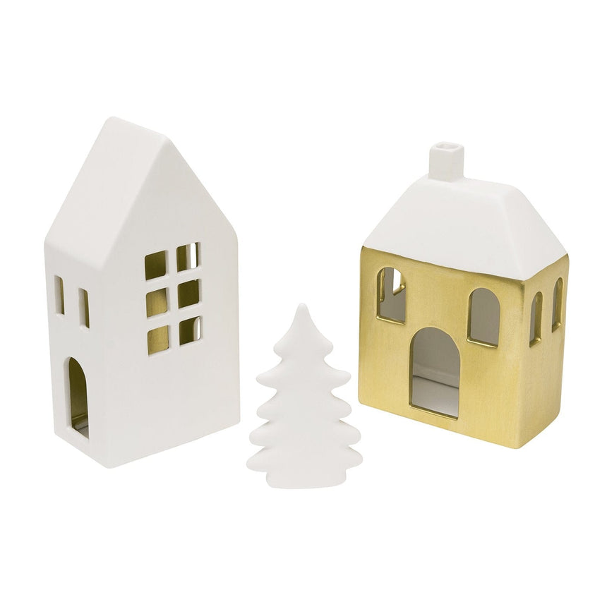 46553 Tealight Holder Houses Set 3 Count
