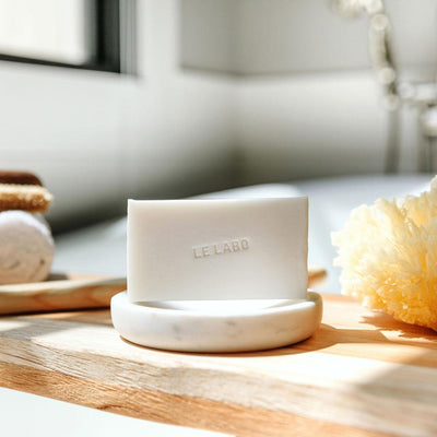 Le Labo Rose 31 bar of soap on marble soap dish