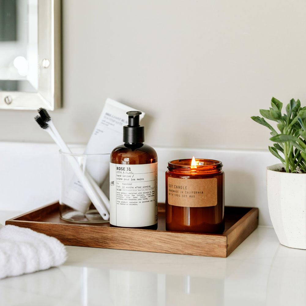 Le Labo Rose 31 hand wash on tray