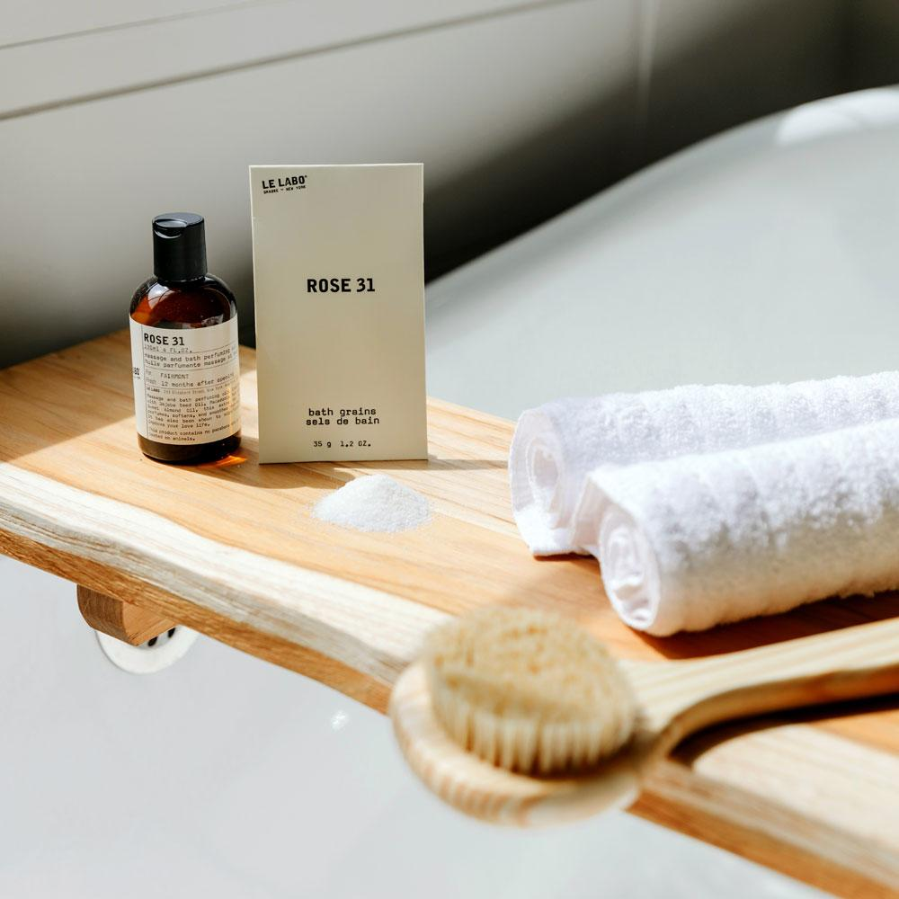 Le Labo Rose 31 massage and body perfuming oil on bath tray