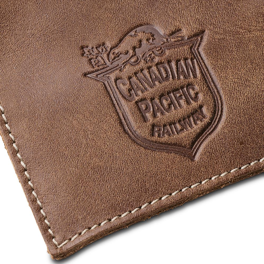 Canadian Pacific business card holder logo detail