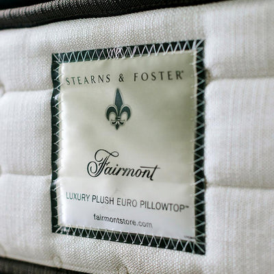 The Fairmont Signature Bed - Sealy Sterns & Foster luxury plush Euro pillowtop label on side angle