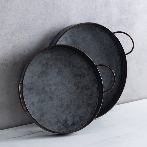 European Retro Round Iron Plate with Handle Metal Vintage Bread Tray