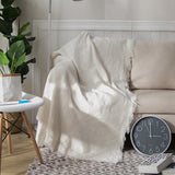 White Grid Cotton Knitted Throw Blanket