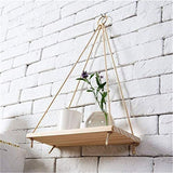Wood Decorative Wall Hanging Shelf Swing Rope Floating Shelves Plant Hanger