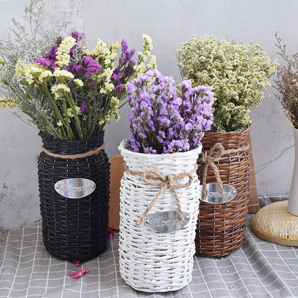 Cane Woven Vase Storage Basket Rustic Flower Container