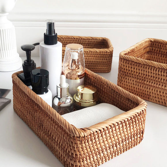 Hand-Woven Rectangular Rattan Wicker Basket Fruit Tea Snack Bread Picnic Cosmetic Storage Box Kitchen Supplies Household Tools