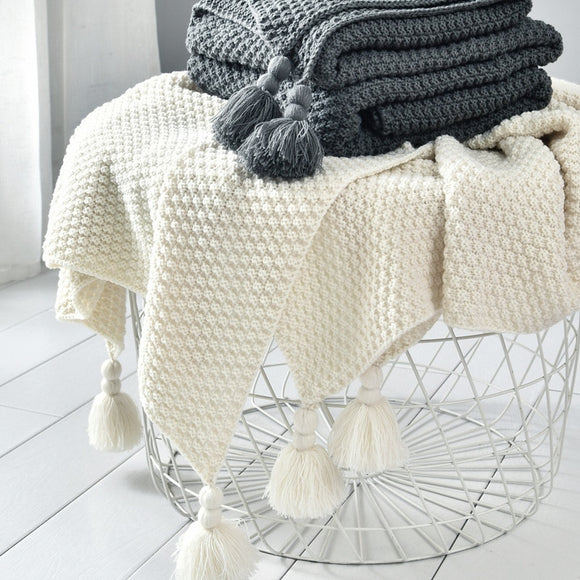 Nordic Style Knitted Blanket Keep Warm Chunky Blanket