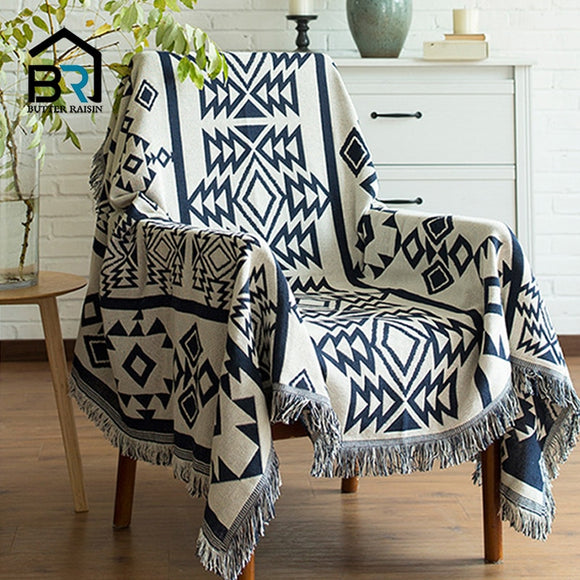 Europe Style Sofa Throw Blanket Cotton Thread Knitted Blanket With Tassel Geometry Bohemian Blanket Home Decor