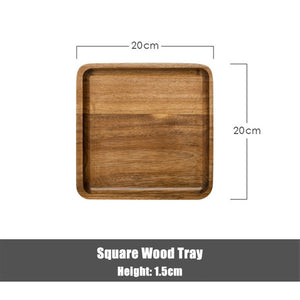 Acacia Wood Serving Tray Square Rectangle