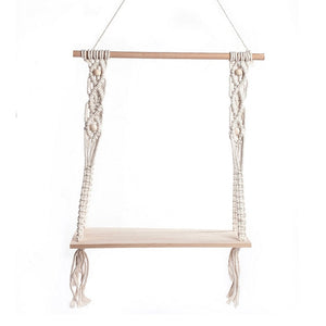 Hand-Woven Macrame Tapestries Rack Shelf Rustic Wooden Farmhouse Hanging Decorative Shelves
