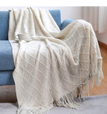 Knitted Blanket Solid Color Waffle Embossed Blanket Nordic Throw Blanket